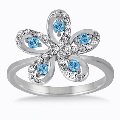 Sterling Silver Round Cut Topaz Flower Ring
