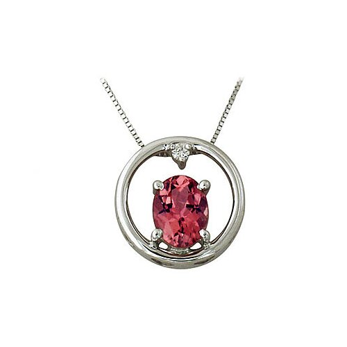 10K White Gold Oval Cut Tourmaline Pendant