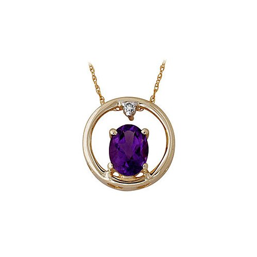10K Yellow Gold Oval Cut Amethyst Pendant