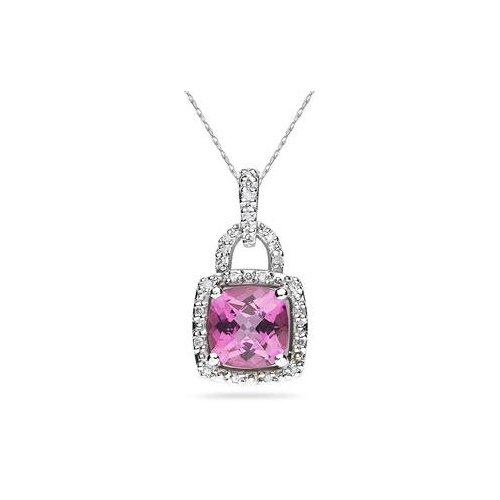 10K White Gold Cushion Cut Topaz Pendant