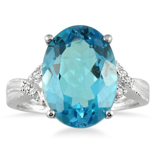 Szul Jewelry 10K White Gold Oval Cut Topaz Ring