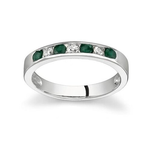 14K Gold Round Cut Gemstone Stackable Ring