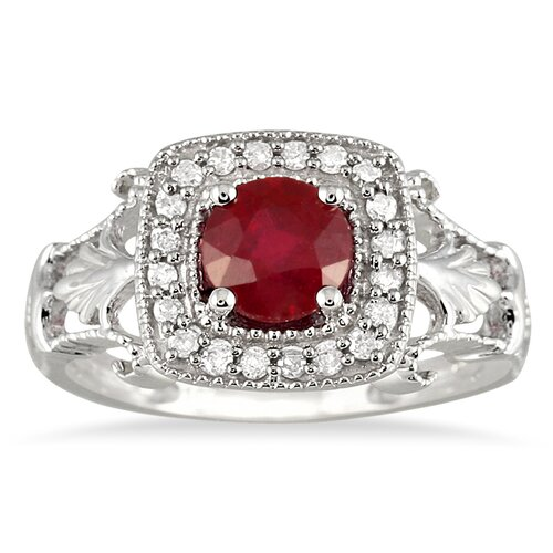 10K White Gold Round Cut Ruby Antique Halo Ring
