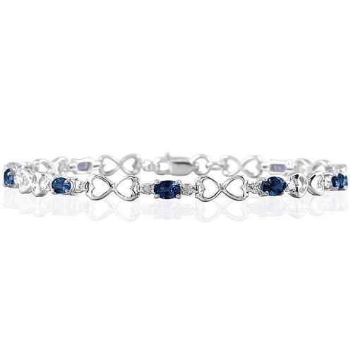 Szul Jewelry 10K White Gold Oval Cut Gemstone Heart Link Bracelet