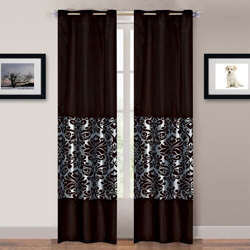 Lavish Home Chocolate and Ice Grommet Curtain Panel