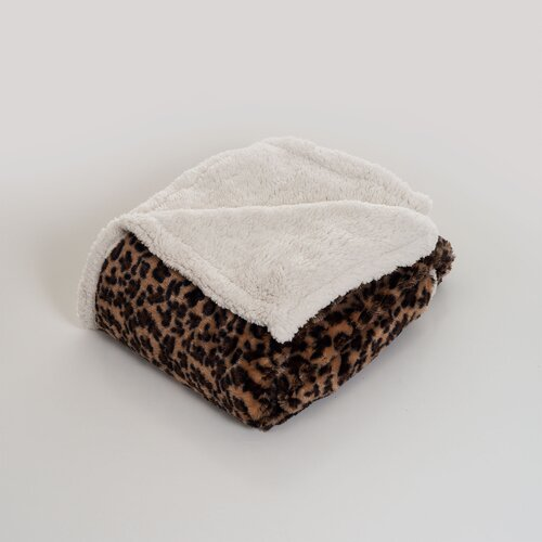 Leopard Polyester Fleece Throw Blanket