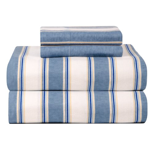 Celeste Home Ultra Soft Flannel Blue Stripe Cotton Sheet Set