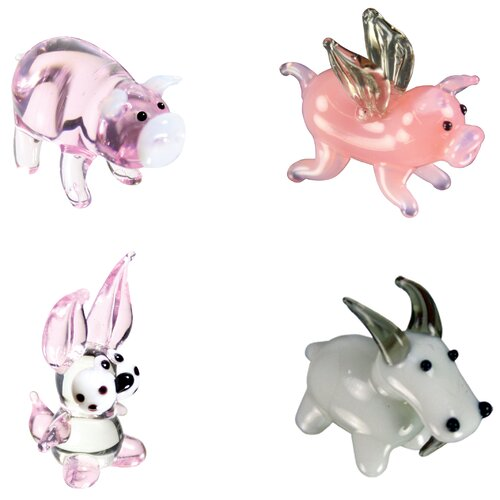 Looking Glass 4 Piece Miniature Pig, Flying Pig, Rabbit, Goat Figurine Set