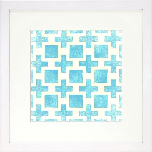 Modern Living Modern Symmetry III Bluebell Framed Graphic Art in Blue
