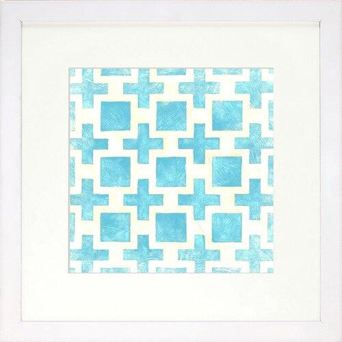 Indigo Avenue Modern Living Modern Symmetry III Bluebell Framed Graphic Art in Blue