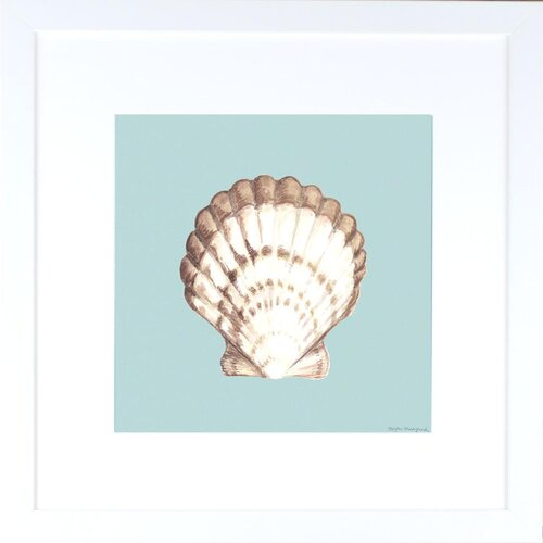 Indigo Avenue Seaside Living Shell on Aqua III Framed Graphic Art