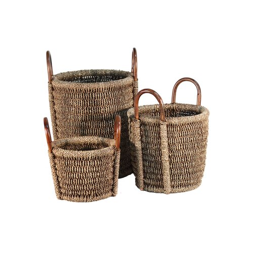 3 Piece Round Seagrass Laundry Basket with Handle
