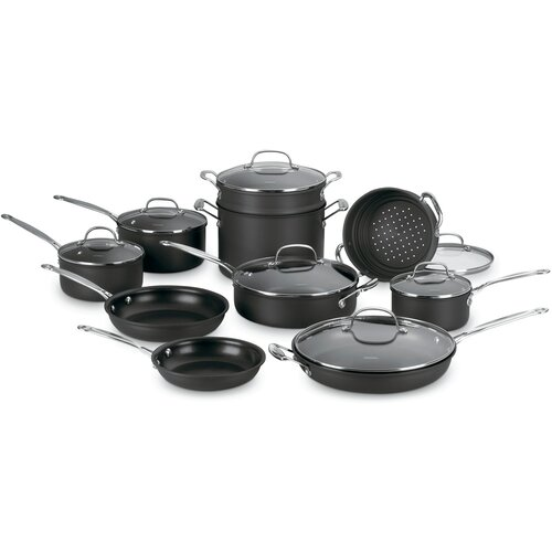 Chef's Classic Nonstick Hard-Anodized 17-Piece Cookware Set