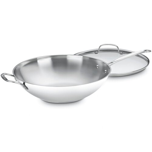 "Chef's Classic Stainless Steel 14"" Stir Fry Wok with Lid"