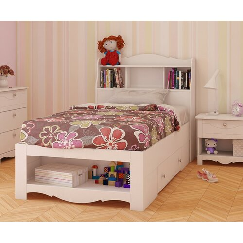 Beautiful  Tall Double  Full Bookcase Platform Storage Bed In Espresso Finish