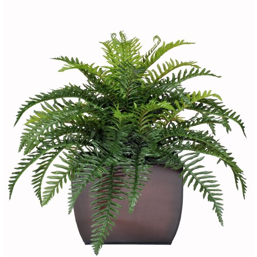 Artificial Fern Desk Top Plant in Zinc Pot