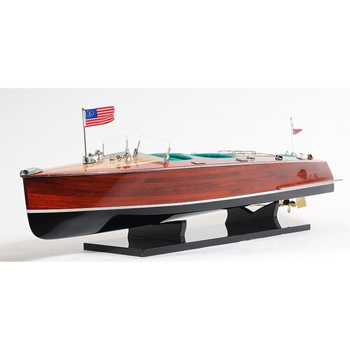 Old Modern Handicrafts Chris Craft Triple Cockpit Painted Model Boat
