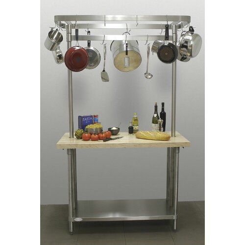 Chef's Prep Table with Wood Top and Pot Rack