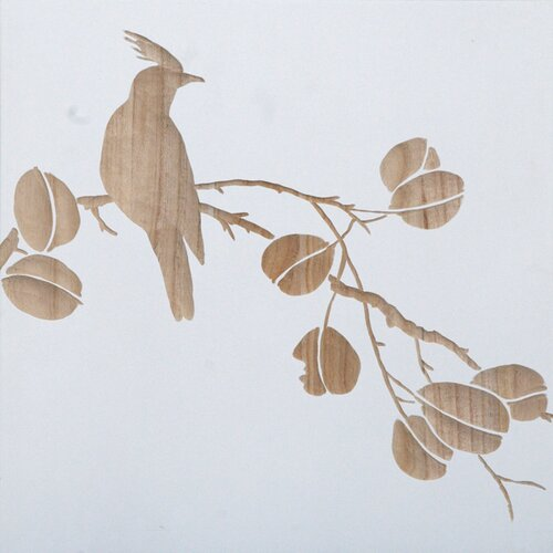 Carved Bird On Branch Painting Print