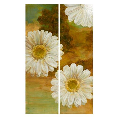White Flowers 2 Piece Painting Print Set