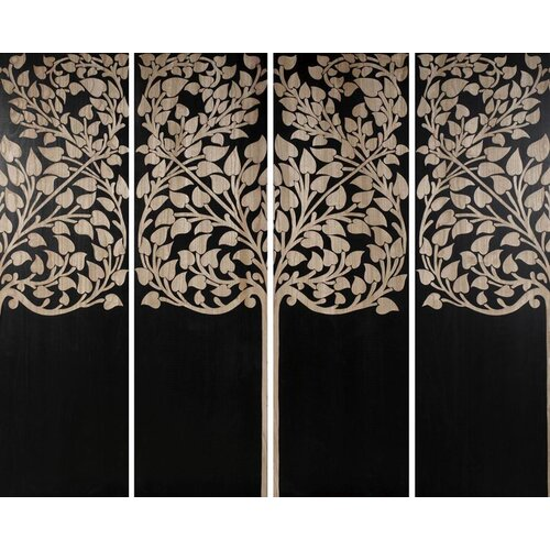 Hand Carved Lacquer Ficus 4 Piece Graphic Art Set (Set of 4)