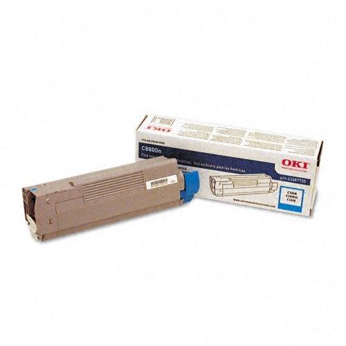 Okidata 43487735 OEM Toner Cartridge, 6000 Page Yield, Cyan