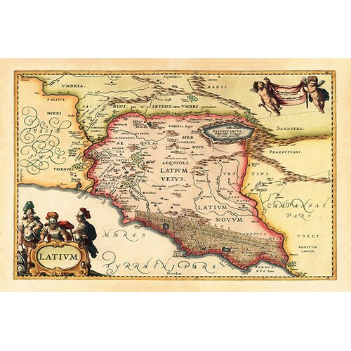 iCanvasArt 'Antique Map of Lazio (Latium) (1949-1960)' by Joan Janssonius Graphic Art on Canvas