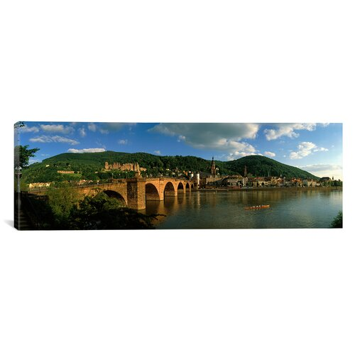 iCanvasArt Panoramic Bridge Heidelberg, Germany Photographic Print on Canvas