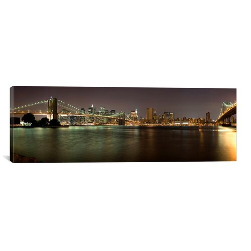 iCanvasArt Panoramic Brooklyn Bridge and Manhattan Bridge Across East River at Night, New York Photographic Print on Canvas