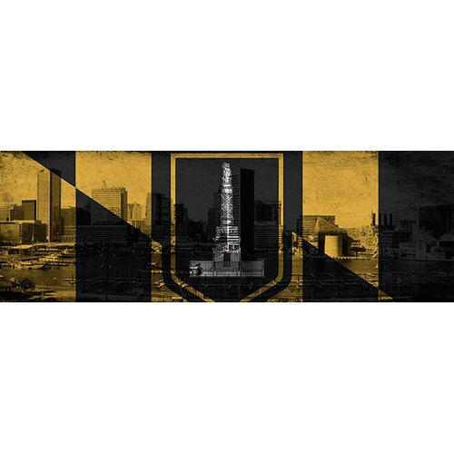 iCanvasArt Baltimore Flag, Grunge Skyline Panoramic Graphic Art on Canvas