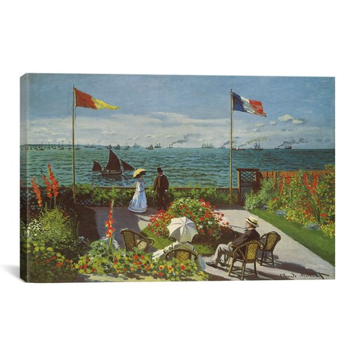 iCanvasArt 'Garden at Sainte-Adresse 1867' by Claude Monet Painting Print on Canvas