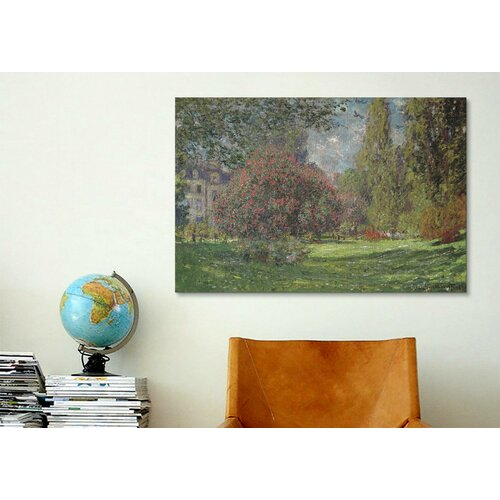iCanvasArt 'Landscape, the Parc Monceau 1876' by Claude Monet Painting Print on Canvas