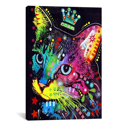 iCanvasArt 'Thinking Cat Crowned' by Dean Russoon Graphic Art on Canvas