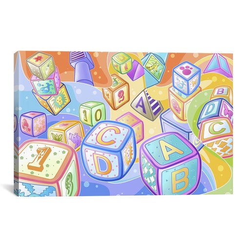 iCanvasArt Kids Children Toy Blocks Canvas Wall Art