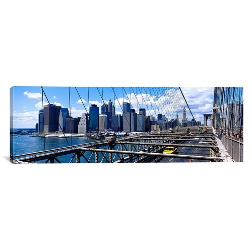 iCanvasArt Panoramic Traffic on a Bridge, Brooklyn Bridge, Manhattan, New York City, New York State Photographic Print on Canvas