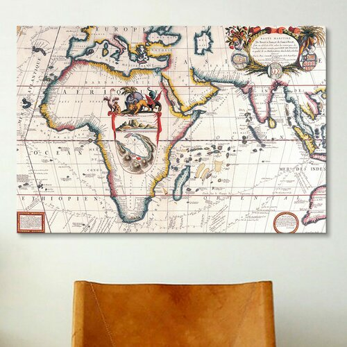 iCanvasArt Antique Asia and Africa Map Graphic Art on Canvas