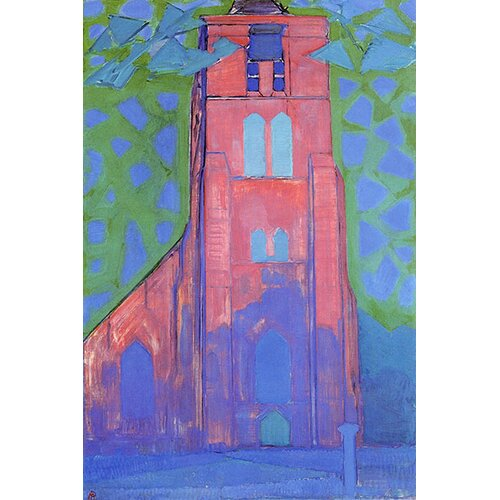 """iCanvasArt """"The Church at Domburg, 1910"""" Canvas Wall Art by Piet Mondrian"""