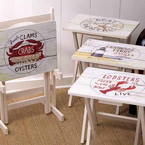 Nautical TV Tray with Stand (Set of 4)