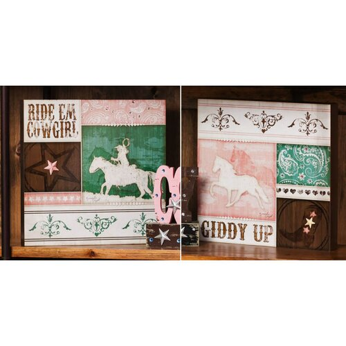 Westward Bound Cowgirl Plocks Wall Border (Set of 2)