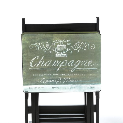 Cape Craftsmen Wines of the World Wine Label TV Tray Set with Stand (Set of 4)