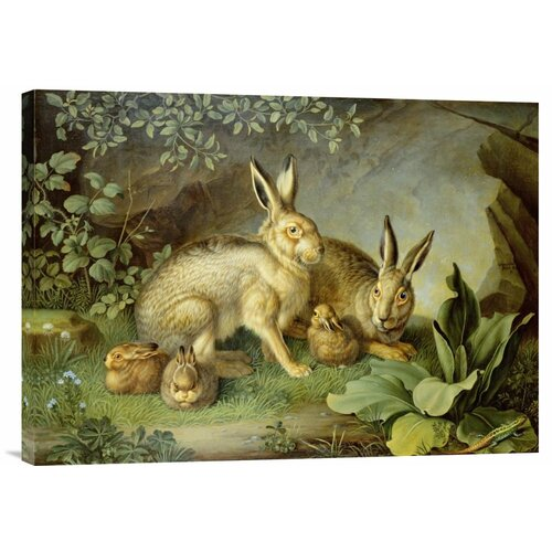 'Hares and Leverets in a Rocky Lair' by Johann Wenzel Peter Painting Print on Canvas ...