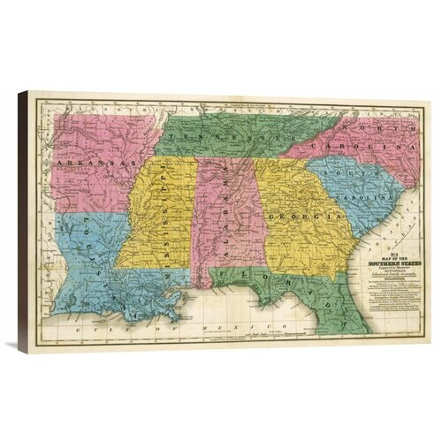 'Map of the Southern States, 1839' by Samuel Augustus Mitchell Graphic Art on Canvas