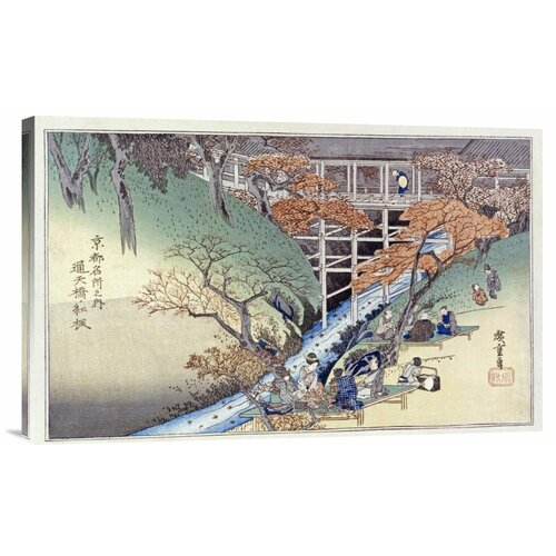 'Red Maple Leaves at Tsuten Bridge' by Hiroshige Painting Print on Canvas