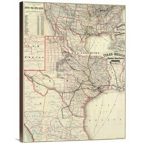 Bentley Global Arts 'Texas and Mexico, Houston and Texas Central Railways, 1885' Graphic Art on Canvas