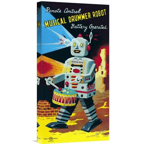 'Musical Drummer Robot' by Retrobot Vintage Advertisement on Canvas