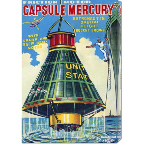 'Capsule Mercury' by Retrorocket Vintage Advertisement on Canvas