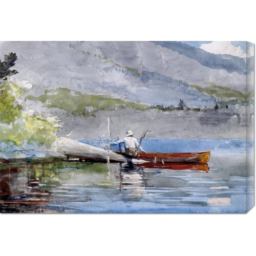 'The Red Canoe' by Winslow Homer Painting Print on Canvas