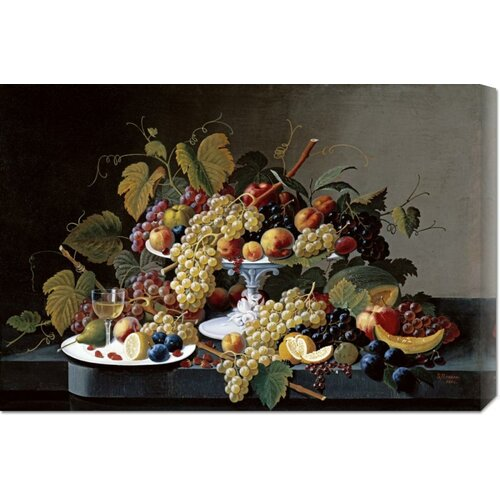 'Still Life With a Milk Glass Compote' by Severin Roesen Painting Print on Canvas
