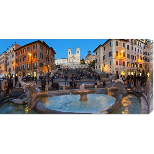 Bentley Global Arts 'Piazza di Spagna at Night, Rome' by Sylvain Sonnet Photographic Print on Canvas