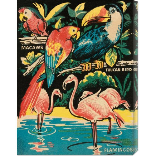 'Tropical Hobbyland - Birds' by Retro Travel Graphic Art on Canvas